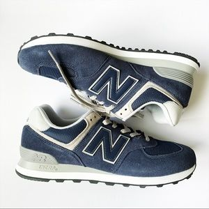 New Balance Mens Navy Blue Gray Sneakers Size 12